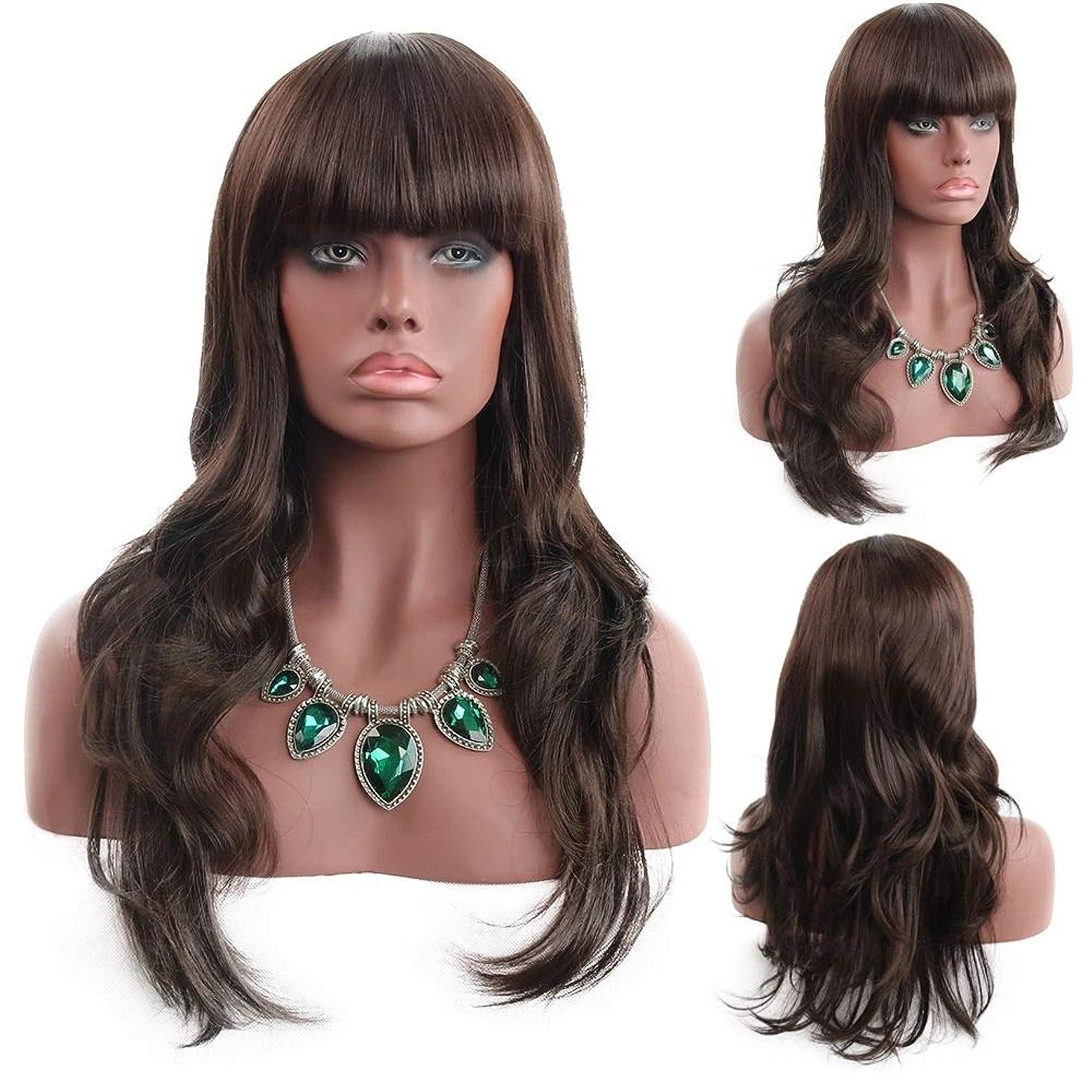 前髪付きの女性の茶色の長い巻き毛の波状の髪の毛のかつら24インチの女性と少女のための魅力的な合成の完全な髪のかつらハロウィンコスプレ衣装アニメパーティーウィッグ
