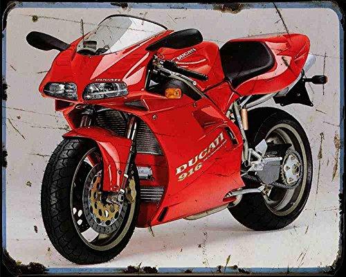 Red Rat Ducati 916 1 A4 Metallschild Motorrad Vintage Aged