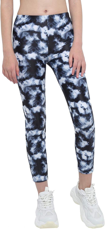 Hansber Kids Girls Tie Dye Running Pants High Waist Leggings Dance Sports Gymnastics Yoga Casualwear Black-White 6