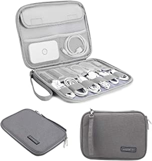 Electronics Organizer, GANAMODA Electronic Accessories Cable Bag Waterproof Travel Cable Storage case for USB Charging Cable Phone Mini Tablet and More(Gray)