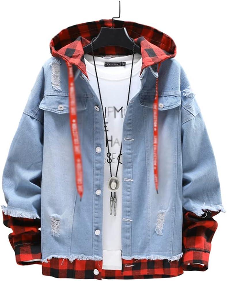Over item handling ☆ JJZXC Rare Spring Autumn Casual Men's Slim Hooded Edge Torn Stitching
