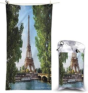 Ahuimin Bath Washcloths, Eiffel Tower,Sunny Summer Skyline, 55 x 27.5 Inches Super Absorbent Lightweight Microfiber Bath Towels for Travel Pool Gym