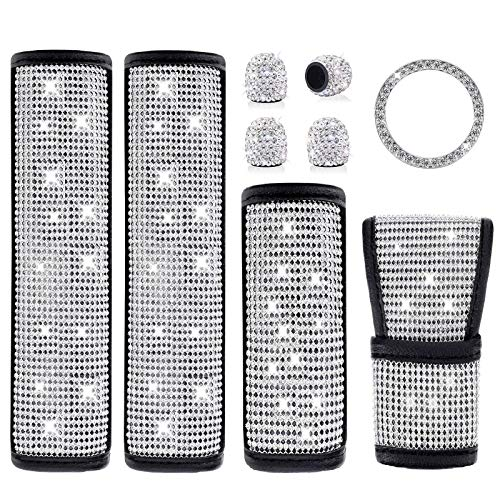 Boltigen Bling Car Accessories for Women Interior Set-6 Pack Diamond Car Accessories with 2 Bling Seat Belt Covers,Bling Gear Shift Cover, Handbrake Cover,Car Ring Sticker, 4 Valve Stem Caps (6 Pack)