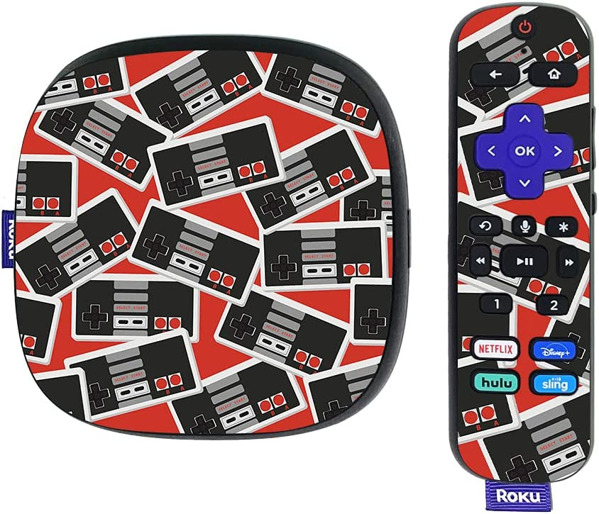 MightySkins Skin Compatible with Roku Ultra HDR 4K Streaming Media Player (2020) - Retro Controllers 3 | Protective, Durable, and Unique Vinyl Decal wrap Cover | Easy to Apply | Made in The USA