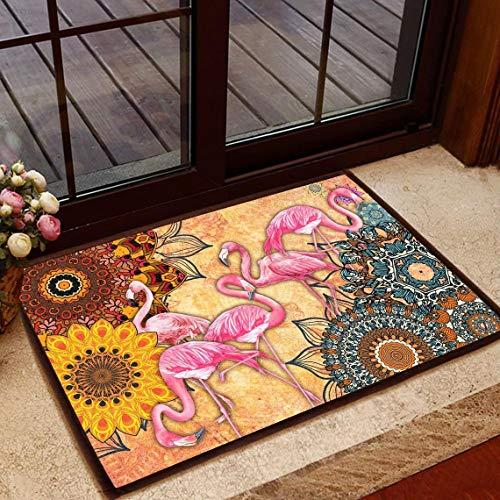 VinMea Divertido felpudo para la entrada al aire libre o interior increíble flamenco piso alfombra para casa coches fuera de la oficina