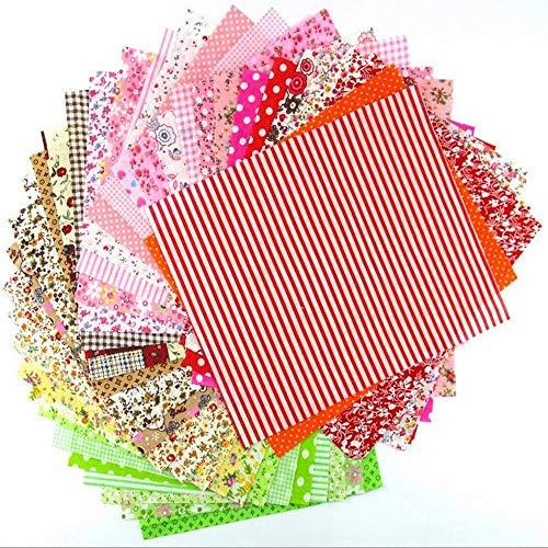 Marubhumi - Juego de 56 piezas de tela de algodón puro de 25,4 x 25,4 cm, varios estampados para manualidades, patchwork, costura, álbumes de recortes, acolchados, patrón de lunares, flores