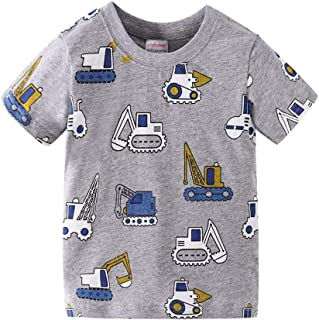 Mornyray Toddler Boys Adorable Cartoon Excavator Pattern Design Style Summer Playwear Kids Casual Outfit Daily Homewear Fashion Wild Contrast Color Babys Tee(2-7T)