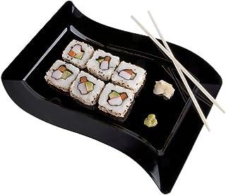 Pack de 10 – Elegante plato de plástico duro ondulado rectangular para servir/bandejas/plato – 10 x 13,5 pulgadas (25 x 35 cm) – negro