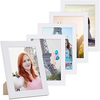 comprar comparacion Photolini Juego de 5 Marcos 15x20 cm Basic Collection Modernos, Blancos de MDF, Incluyendo Accesorios/Collage de Fotos/gal...