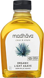 Madhava Naturally Sweet Organic Blue Agave Low-Glycemic Sweetener, Golden Light, 23.5 Ounce (Pack of 6) - PACKAGING MAY VARY