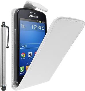 ebestStar - Funda Compatible con Samsung Galaxy Trend 2 Lite SM-G318H, Galaxy V Plus Carcasa Abatible PU Cuero, Ultra Slim Case Cover + Lápiz, Blanco [Aparato: 121.4 x 62.9 x 10.7mm, 4.0'']