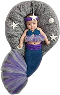 Coberllus Newborn Monthly Baby Photo Props Outfits Crochet Mermaid for Girls Photography Shoot