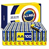 Allmax AA Maximum Power Alkaline Batteries (100 Count Bulk Pack) – Ultra Long-Lasting Double A Battery, 10-Year Shelf Life, Leak-Proof, Safe for Environment – Powered by EnergyCircle Technology (1.5V)