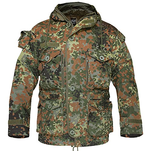 Mil-Tec Smock Light Weight Ripstop Wetterschutz Einsatzjacke Army Parka Outdoor Jacke Arbeitsjacke Flecktarn S-3XL (3XL)