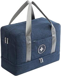 RichDeer Foldable Travel Duffel Bag Luggage Sports Gym Tote Bag Waterproof Handbag Dry Wet Separated Gym Bag (Navy Blue)