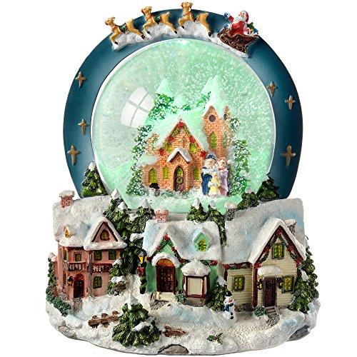 WeRChristmas Weihnachtsdekoration Weihnachtliche Szene, mit Schneekugel und Musik, beleuchtet, 20cm