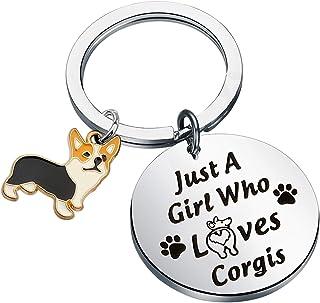 Corgis Dog Mom Gift Key Chain Ring Fob Corgi Owner Personalized Engraved Keychain Corgi Lover Leather Custom luggage Keyring Tag