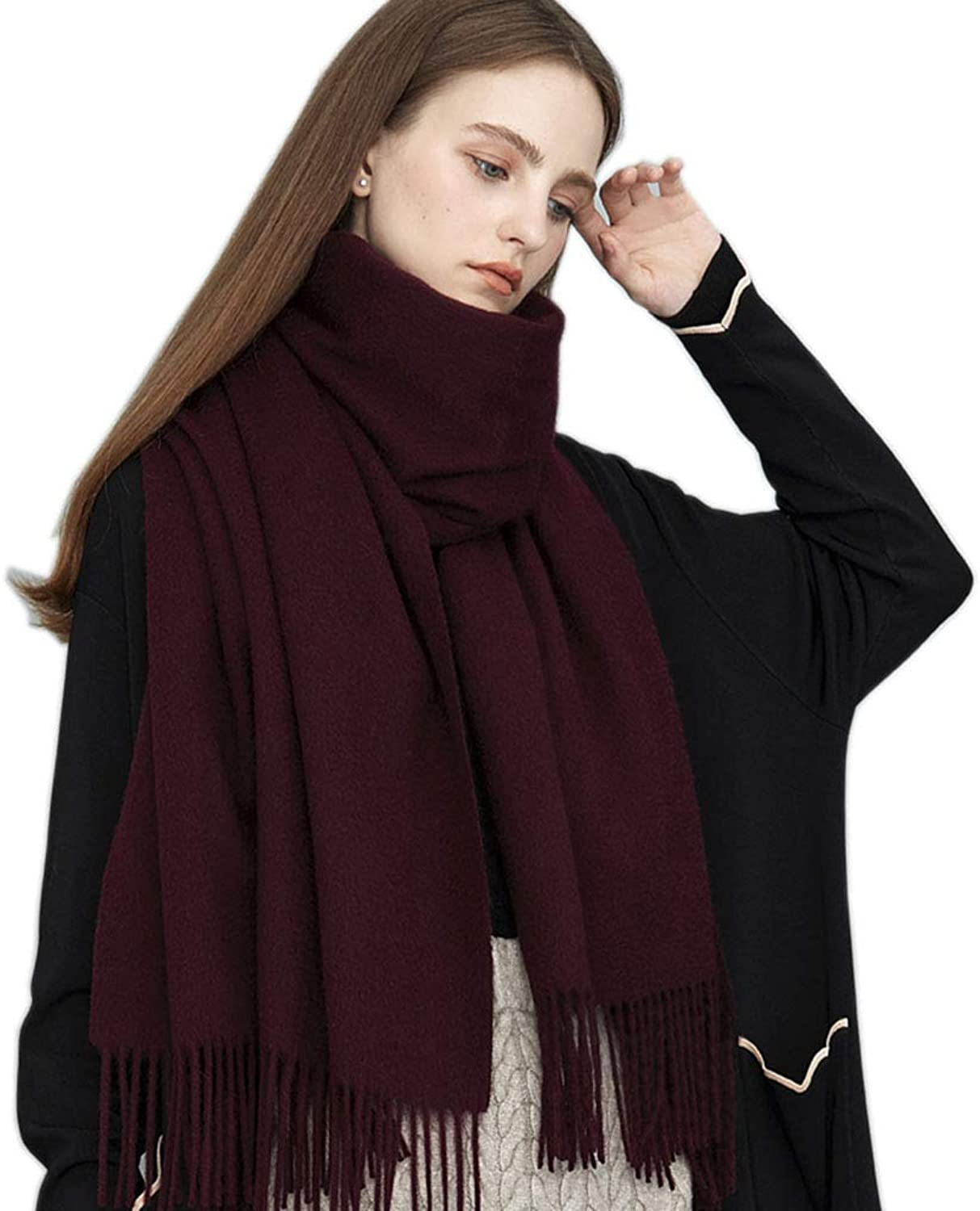 Stoles Scarf Cashmere Shawl Scarf Winter Comfortable Warm Scarf Ladies Dualuse Thick Pure Cashmere Tassel Shawl (color   Purple, Size   200  70 cm)