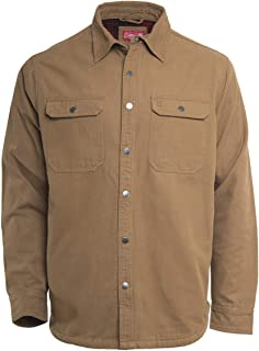 Fleece Lined Washed Canvas Shirt Jackets for Men