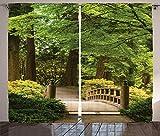 ABAKUHAUS Giapponese Tenda, Ponte di Legno su Stagno, Lavabile Non Sbiadisce Due Pannelli Set, 280 x 175 cm, Verde Marrone