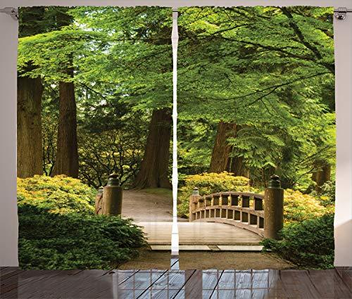 ABAKUHAUS japonés Cortinas, Puente de Madera sobre el Estanque, Sala de Estar Dormitorio Cortinas Ventana Set de Dos Paños, 280 x 225 cm, Verde marrón