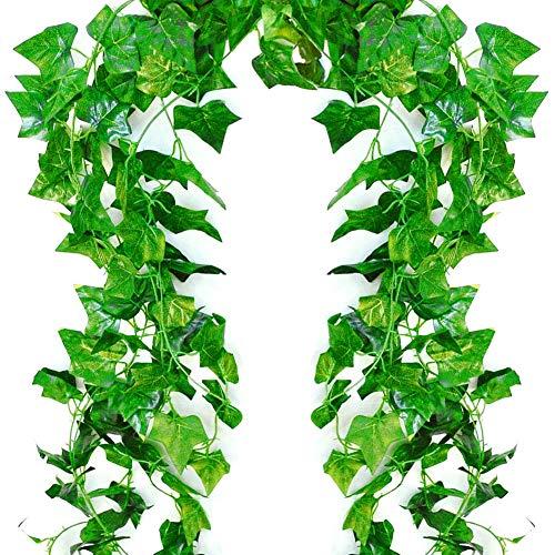 lawnko Efeu Künstlich, 12 Stück Efeugirlande 84 Ft Künstliches Efeu Hochzeit für Büro, Garten, Party Wanddekoration (12 * 2.1M)