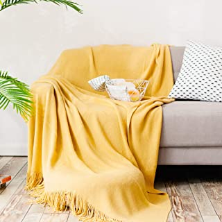 MEIQB Soft Throw Blanket Warm & Knitted Blankets with Decorative Fringe Lightweight for Bed or Sofa Decorative (Yellow, 50