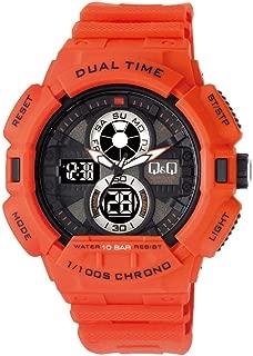 Q&Q Men's Grey Dial Silicone Band Watch - Gw81J005Y, Analog-Digital Display