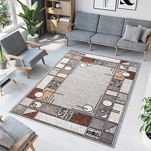 TAPISO Laila Teppich Modern Kurzflor Grau Braun Creme Figuren Streifen Vierecke Kreise Meliert Design Wohnzimmer Schlafzimmer 120 x 170 cm