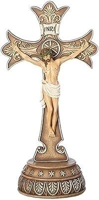 Fleur-de-lis Crucifix Bronze Tone Detailed 6 x 12 Resin Stone Tabletop Figurine