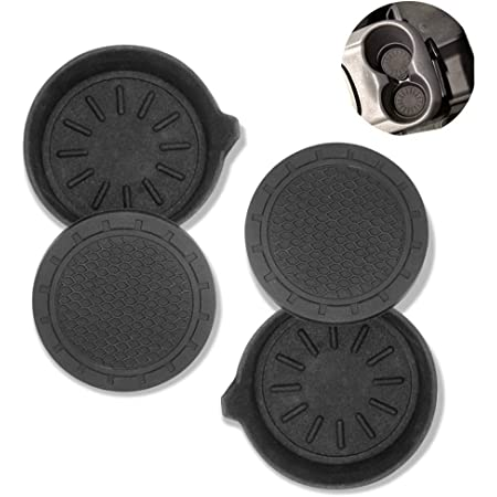 AUXSOUL 8 Pcs Car Cup Coasters Anti Slip Universal Vehicle Interior Accessories Cup Mats Removable Car Cup Holder Black Insert Drink Coasters for Most Cars