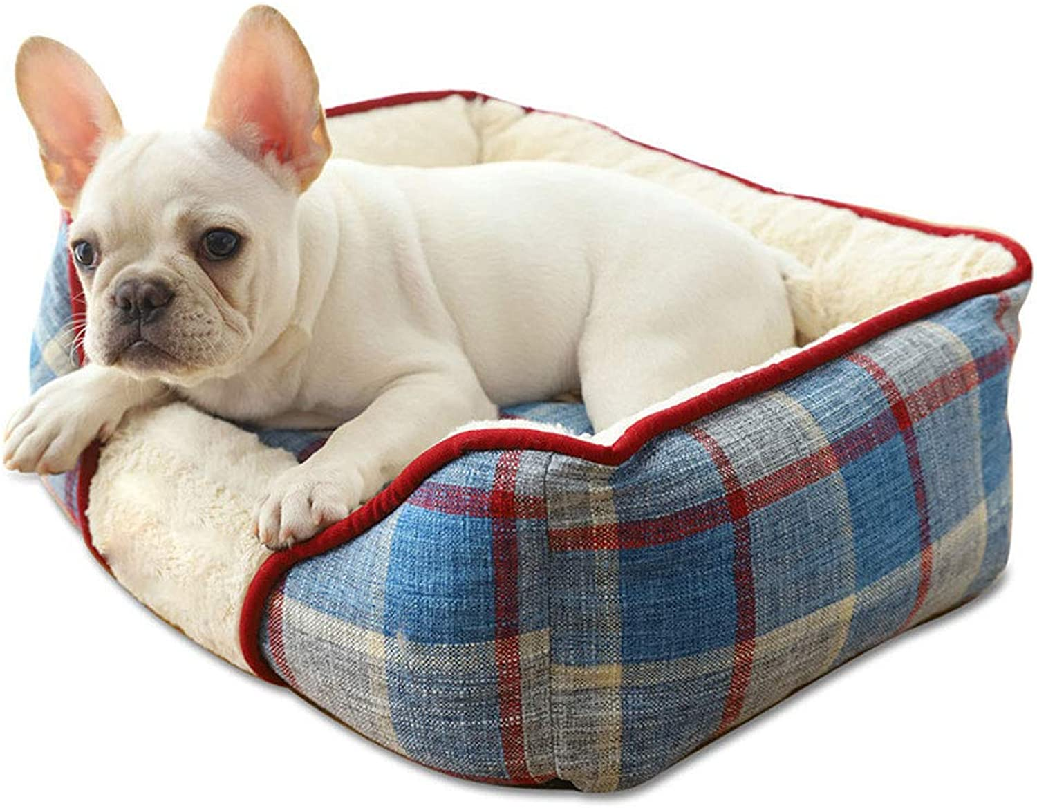 GCHOME dog bed Pet Bed, Plaid Linen Kennel Autumn and Winter Soft Warm and Comfortable Nonslip Waterproof and Durable Removable and Washable (Size   M)