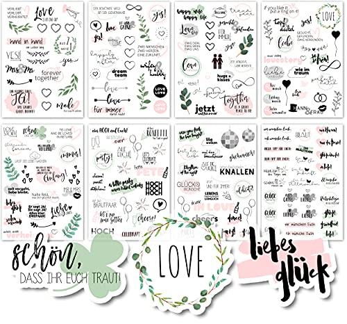 Sticker Hochzeit Gästebuch (8 Bögen) - Vintage Hochzeit Aufkleber für Gästebuch oder Fotoalbum mit viel Liebe - Love Stickers für Scrapbook oder Bullet Journal - Wedding Deko mit Herz - Rosagrün