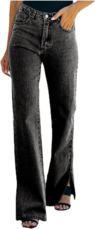 Fudule Y2K Pants for Women 90s High Waist Distressed Straight Denim Jeans Vintage Trouser Y2K Fashion Pants Streetwear