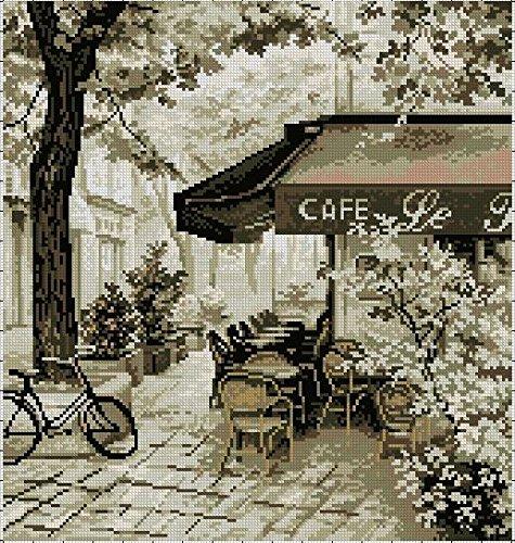 Antiguos Cafés de punto de cruz Kits, 14ct, hilos de egipcio de algodón 170x 180, diseño floral, 40x 40cm de punto de cruz Kits sampler