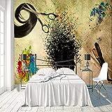 VVBIHUAING 3D Peintures des Autocollants Mur Fond Décorations Murales Coiffure Chambre d'enfants d'art De Décoration (W) 250x(H) 175cm
