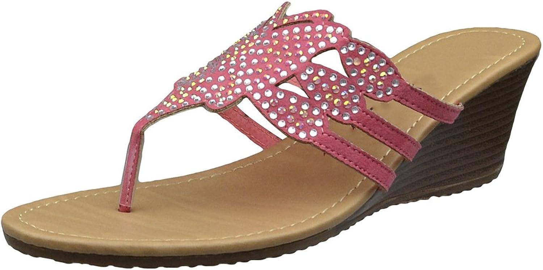 KSC Womens Platform Sandals Rhinestone Butterfly Thong Wedge Sandals