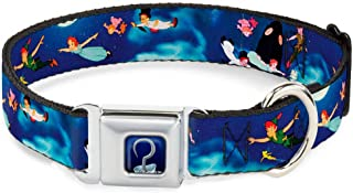 Dog Collar Seatbelt Buckle Peter Pan Flying Scene 9 to 15 Inches 1.0 Inch Wide