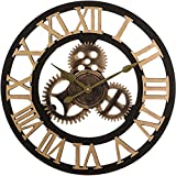C-Cakus Vintage Reloj de pared de madera, reloj de pared, adhesivo silencioso, reloj de pared, decoración para salón, habitación de los niños, bar, madera, Oro, 50 cm.