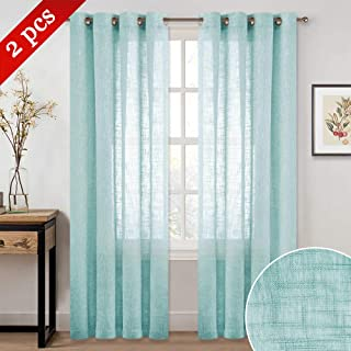NICETOWN Privacy Translucent Faux Linen Sheer Window Curtains, Eyelet Top Design Linen Textured Look Semi-Voile Drapes for Hall/Cottage (52 inches Wide, 84 inches Long, 2 Pieces, Ocean Wave)