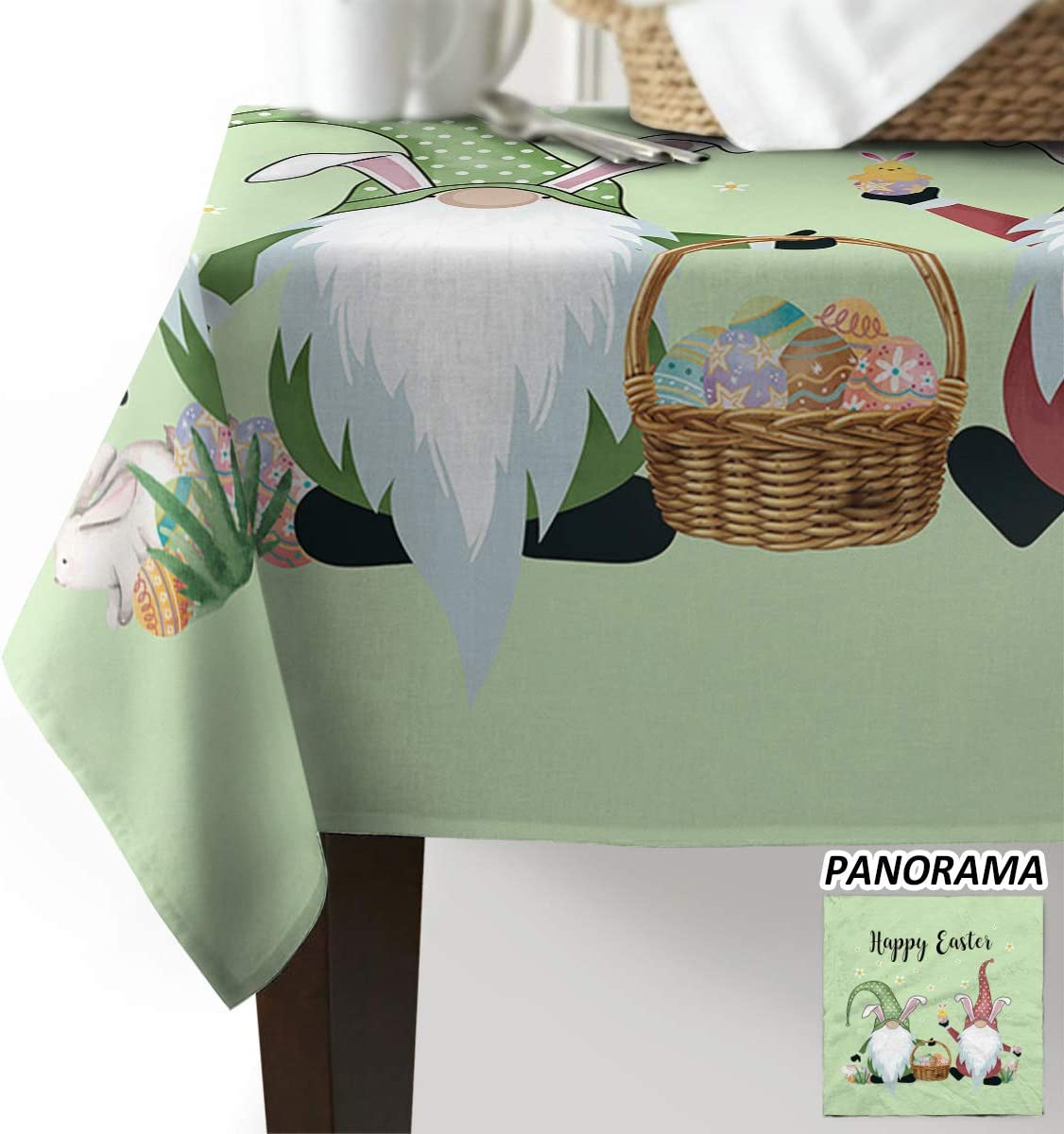 Advancey 買い物 Rectangle Table Cloth Spill-Proof Tablecloth Happy East 出荷