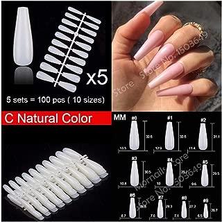 100pcs/pack Coffin Almond Ballerina Stiletto Shape False Nails 10 Size Nails Full Cover Nail Art Tips (Color : C Natural 100pcs)