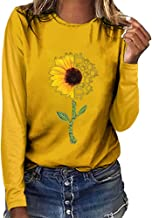 Women's Sunflower Print Long Sleeve Crew Ne Fit Casual Sweatshirtr Tops Shirts Loose Tunic Blouse LIM&Shop