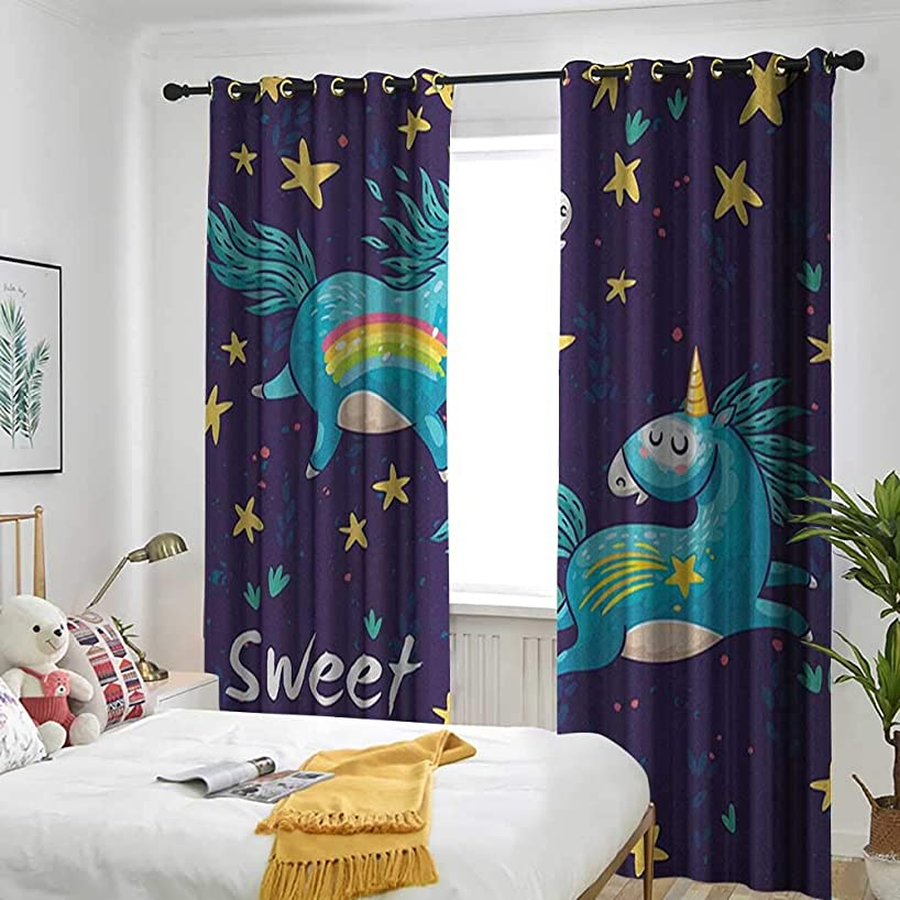 Bedroom Curtains Adjustable lace Sunshade Bag Sweet Dreams,Two Unicorns Flying in Night Sky Childhood Fantasy Fairytale Themed Cartoon Multicolor
