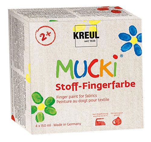 Kreul 28400 - Mucki leuchtkräftige Stoff - Fingerfarbe, 4 x 150 ml, gelb, rot, blau, grün, Wasserbasis, paraben-, gluten-, laktosefrei und vegan, optimal für die Anwendung mit Fingern und Händen