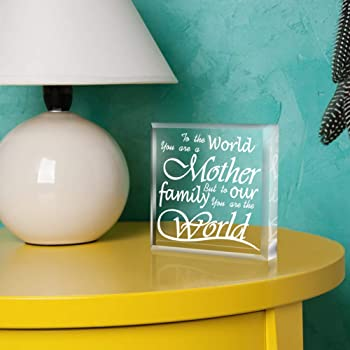 SICOHOME Mother's Day Gifts for Mom,To the World You are a Mother,To Our Family You are the World, Keepsake and Paperweight,Gift for Mom from Son Daughter