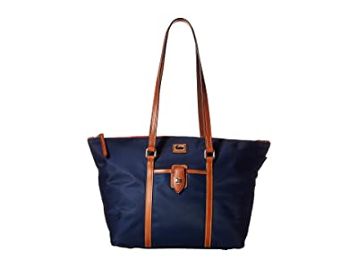 Dooney & Bourke Camden Large Zip Tote (Navy/Dark Chocolate Trim) Tote Handbags