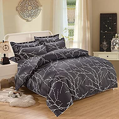 Branches Duvet Cover Set, Dark Gray Grey Charcoal with Tree Pattern Printed, Soft Microfiber Bedding with Zipper Closure (3pcs, King Size)
