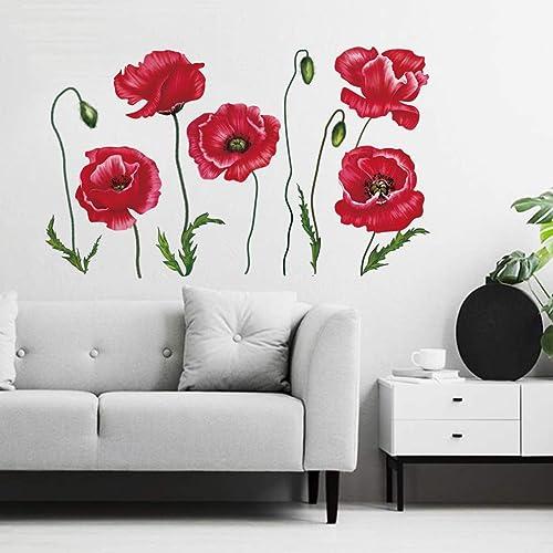 decalmile Stickers Muraux Coquelicots Rouges Autocollant Murale Fleur la Nature Décoration Murale Chambre Enfants Sal...