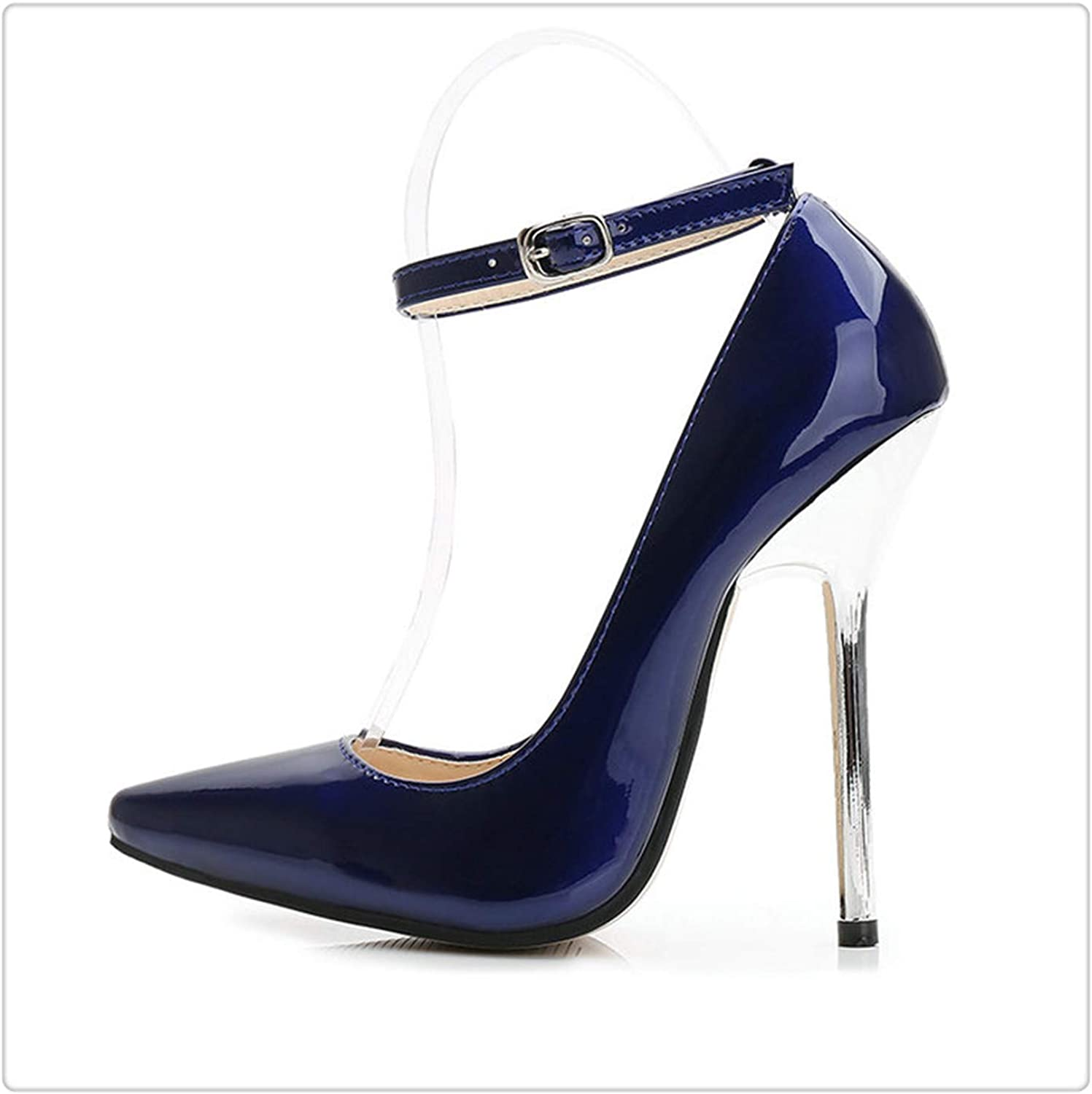 Dmoshibei shoes Women 12 cm High Heels Pumps Leather Pointed Toe Women Pumps Ladies shoes Thin High Heel shoes Large Size 43 44 bluee 41